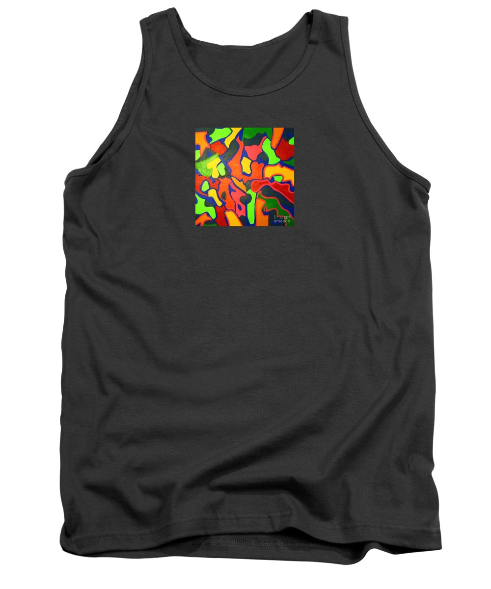 Eunice Broderick Tank Top featuring the painting Tropical Sunbathers by Eunice Broderick