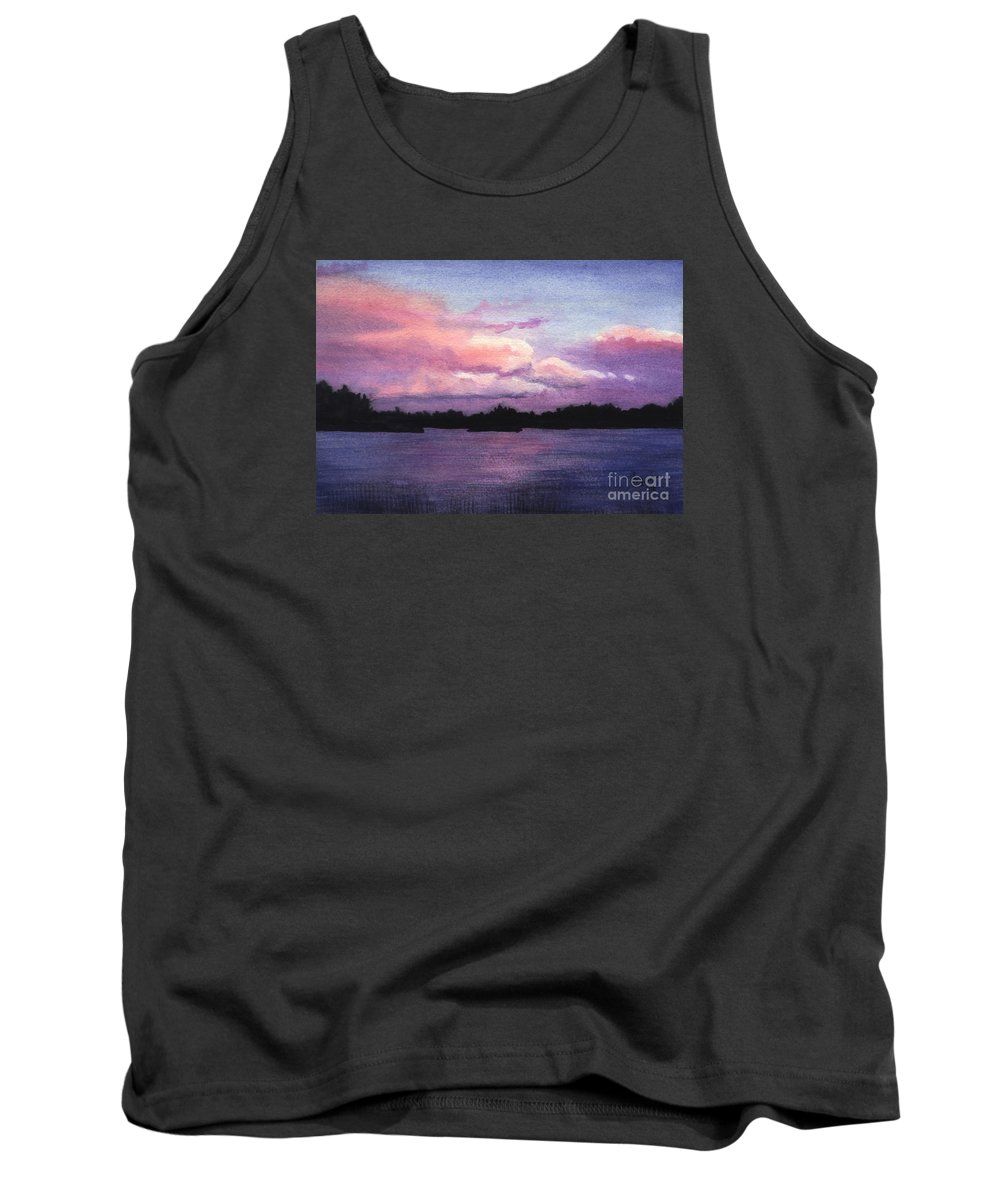 Landscape Tank Top featuring the painting Trout Lake Sunset I by Lynn Quinn