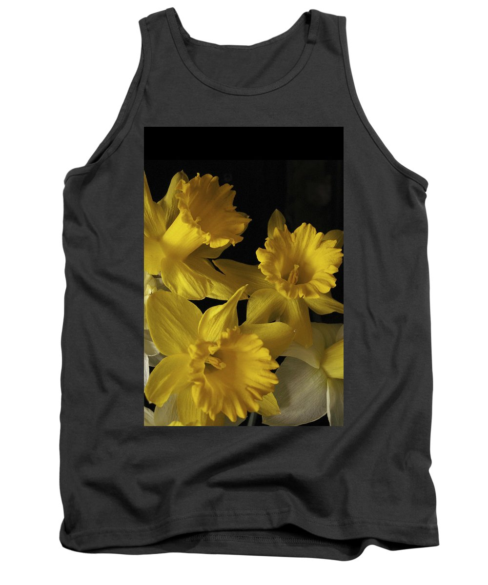 Macro Tank Top featuring the photograph Trumpet Daffodils by Nancy Griswold