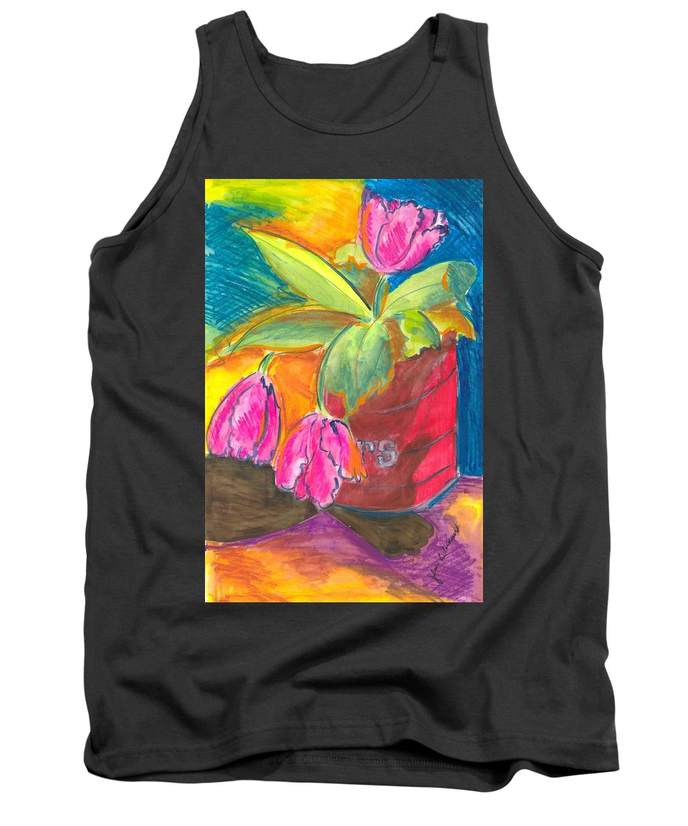 Flowers Tank Top featuring the painting Tulips In Can by Jean Blackmer