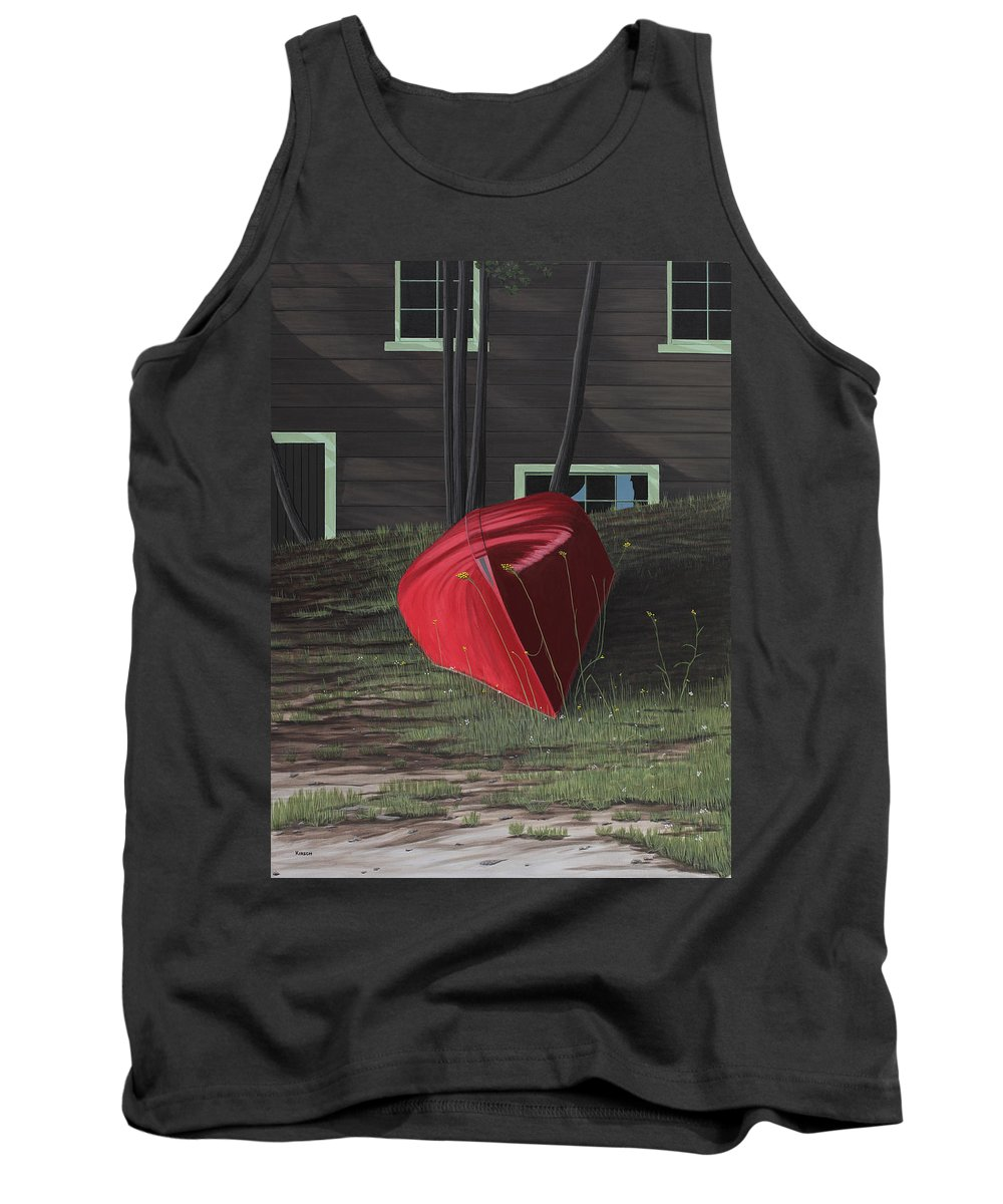 Canoes Tank Top featuring the painting Turned Down Day by Kenneth M Kirsch