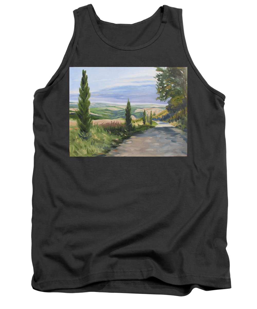 Landscape Tank Top featuring the painting Tuscan Walk by Jay Johnson
