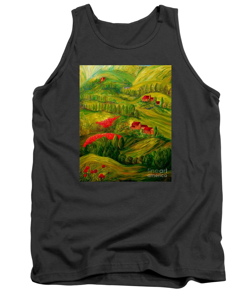 Tuscany Tank Top featuring the painting Tuscany At Dawn by Eloise Schneider Mote