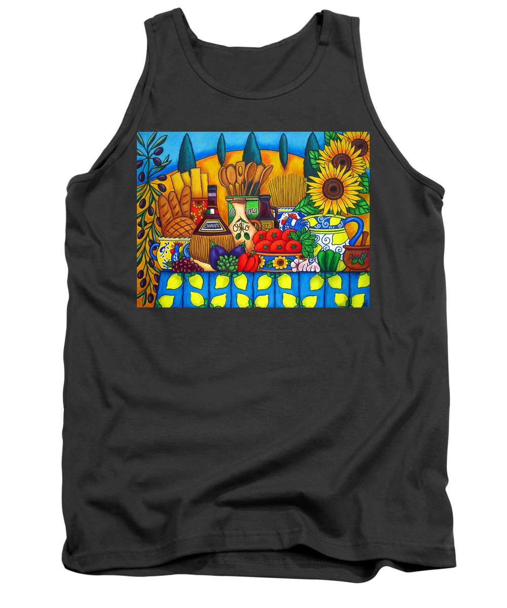 Still Life Tank Top featuring the painting Tuscany Delights by Lisa Lorenz