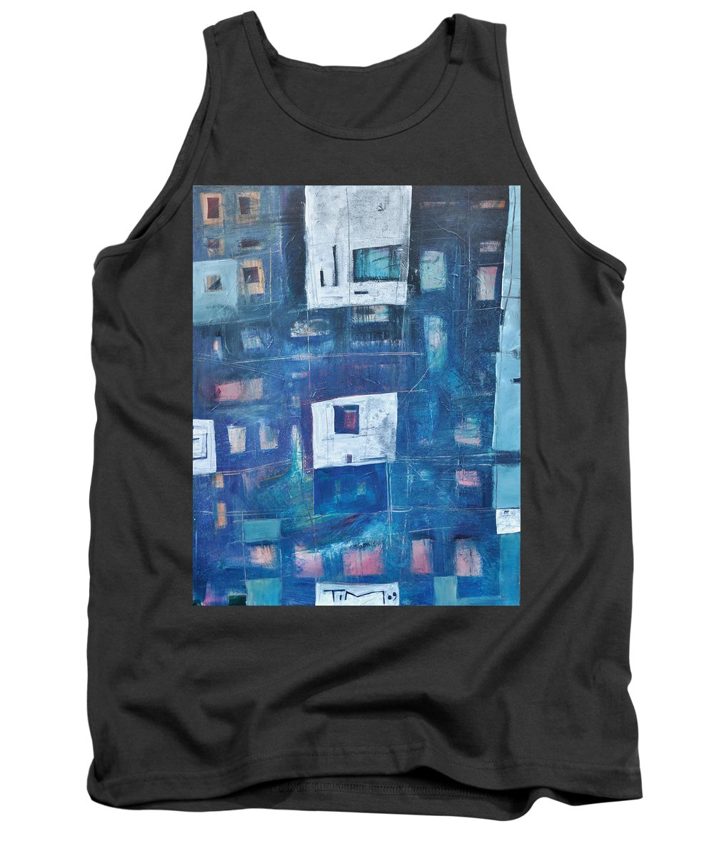 Abstract Tank Top featuring the painting Twilight Highrise by Tim Nyberg