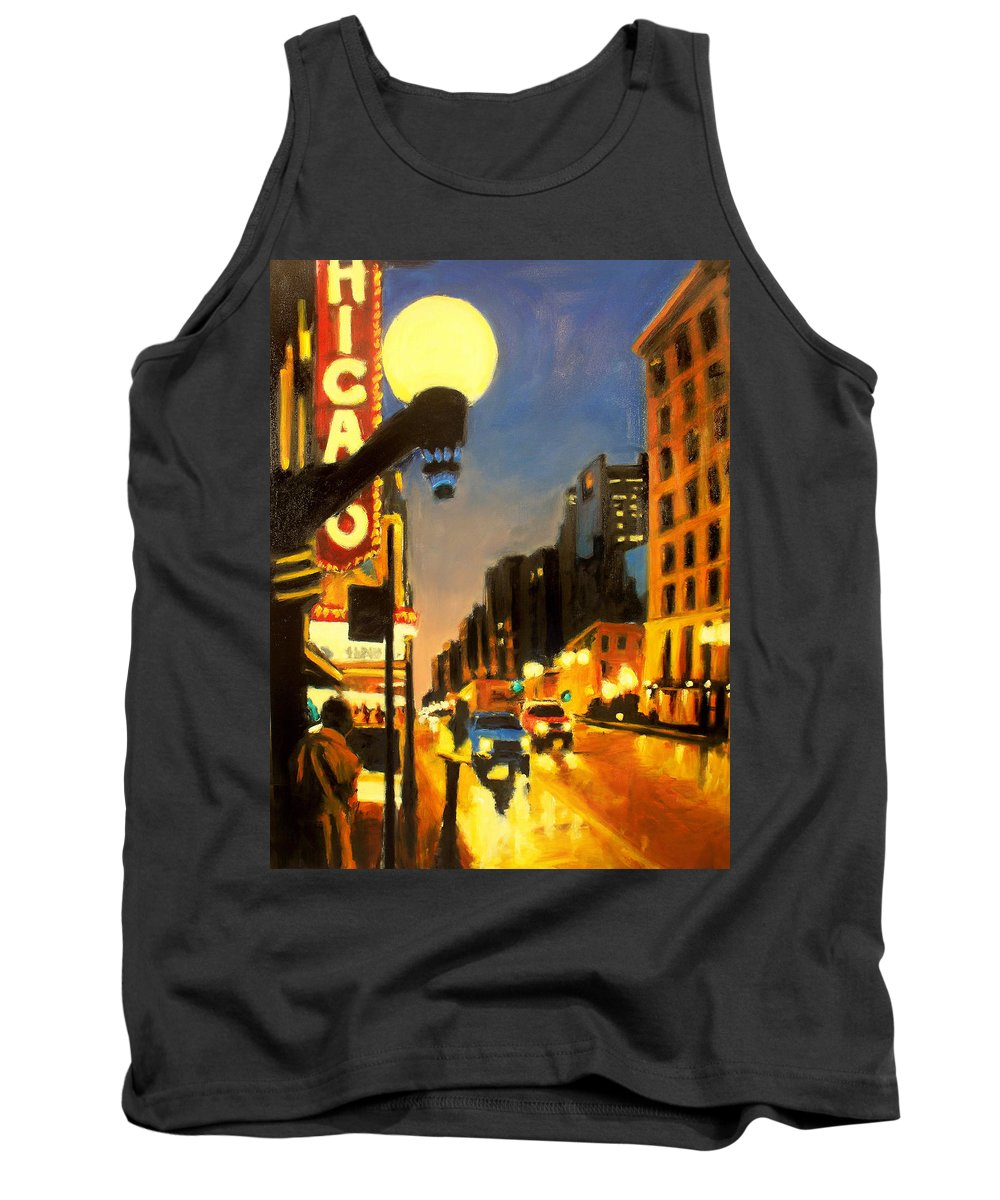 Rob Reeves Tank Top featuring the painting Twilight In Chicago - The Watcher by Robert Reeves