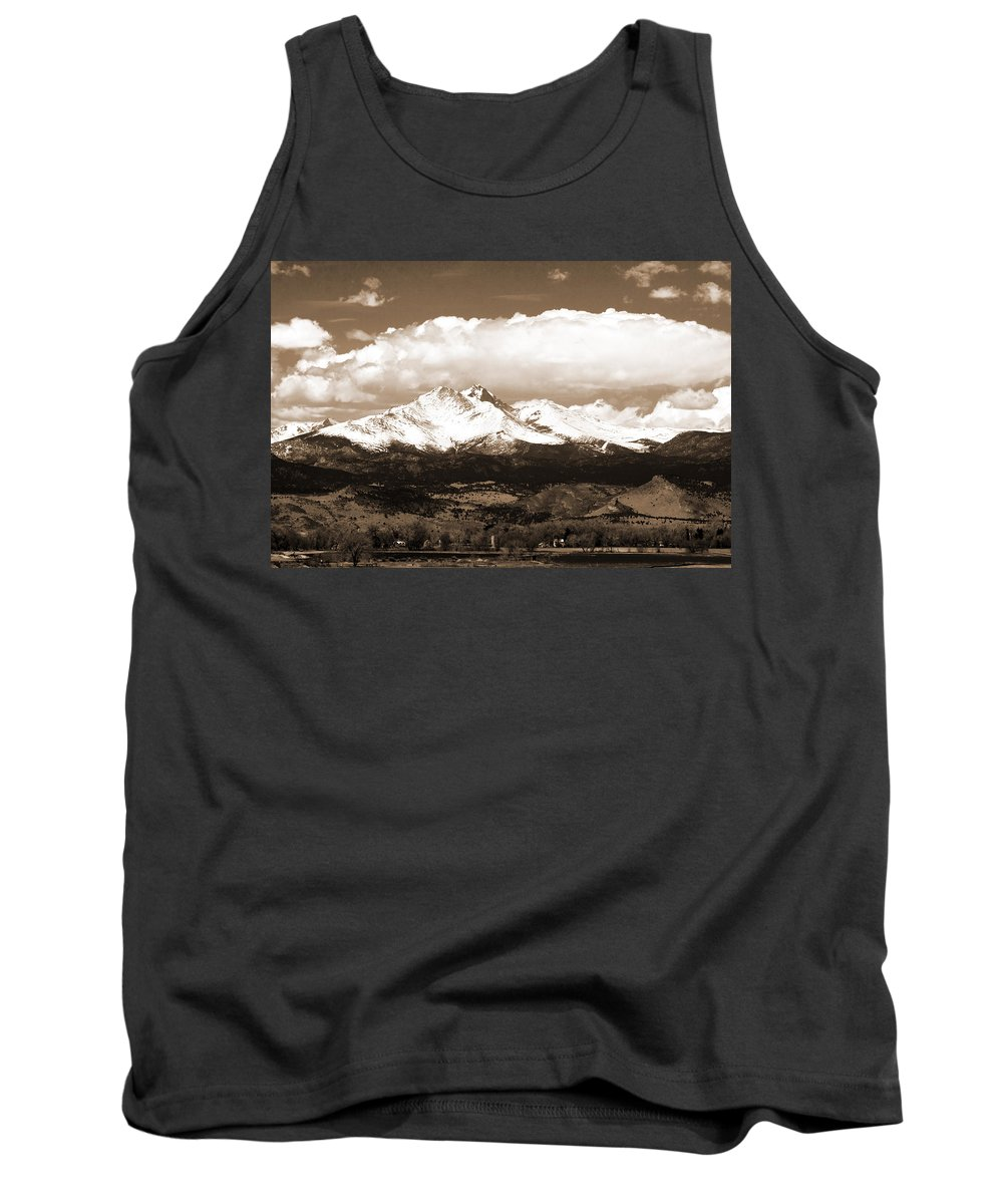 Twin Peeks Tank Top featuring the photograph Twin Peaks In Sepia by James BO Insogna
