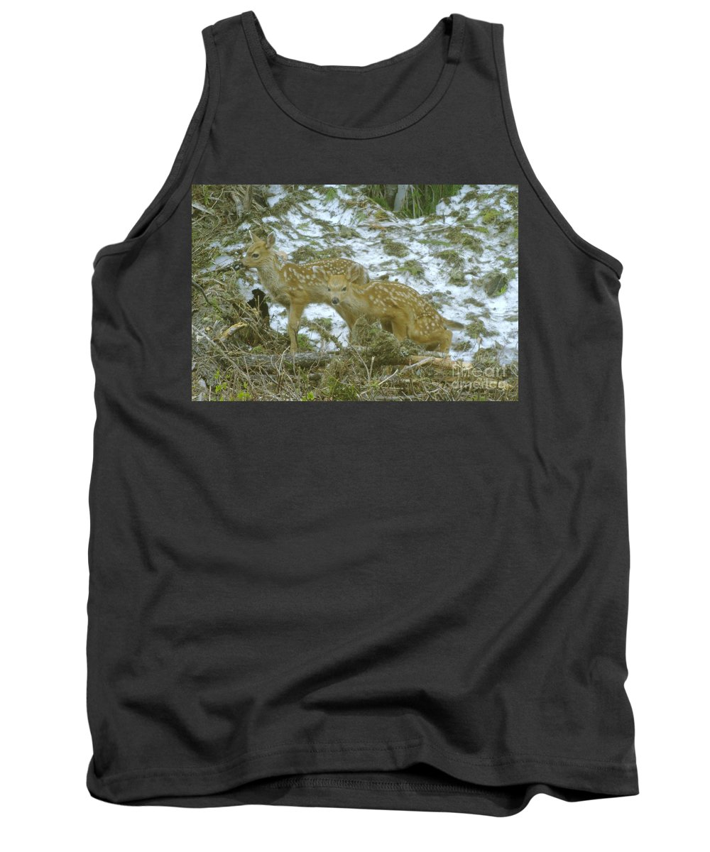 Deer Tank Top featuring the photograph Twins by Jeff Swan