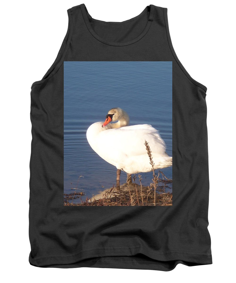 Twisted Tank Top featuring the painting Twisted White Swan by Eric Schiabor