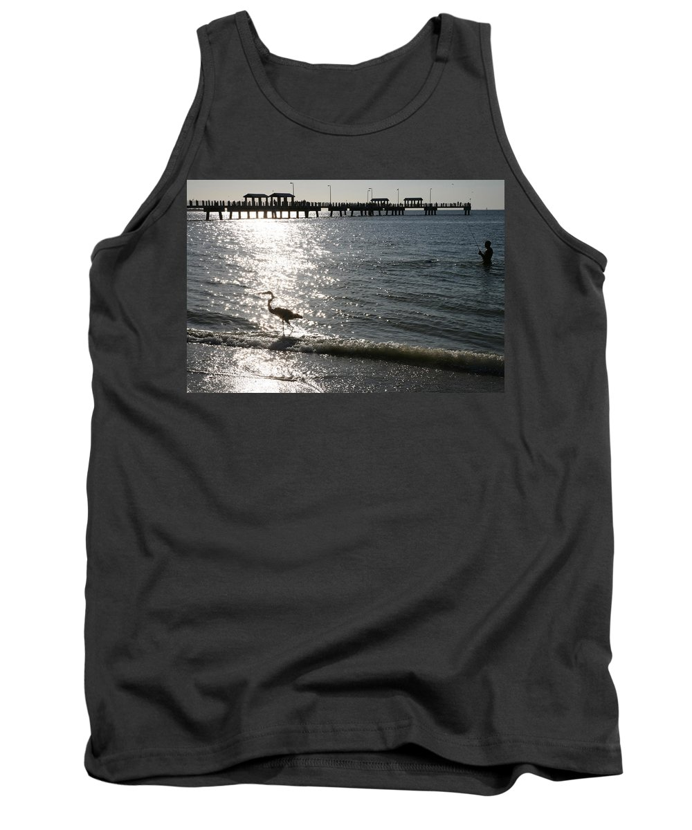 Fort De Soto Tank Top featuring the photograph Two Anglers At Fort De Soto by Mal Bray