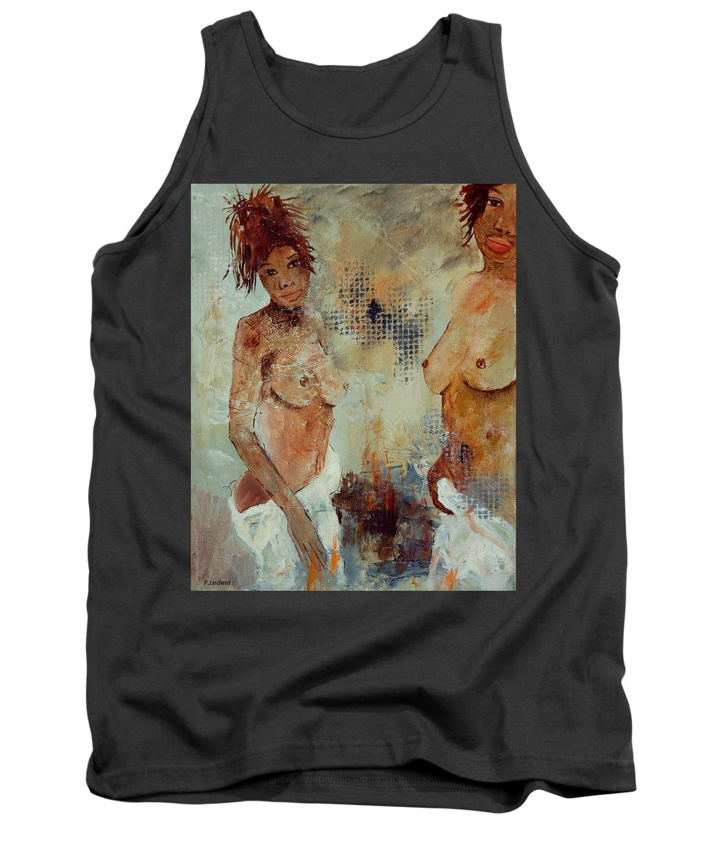 Girl Nude Tank Top featuring the painting Two Black Sisters by Pol Ledent