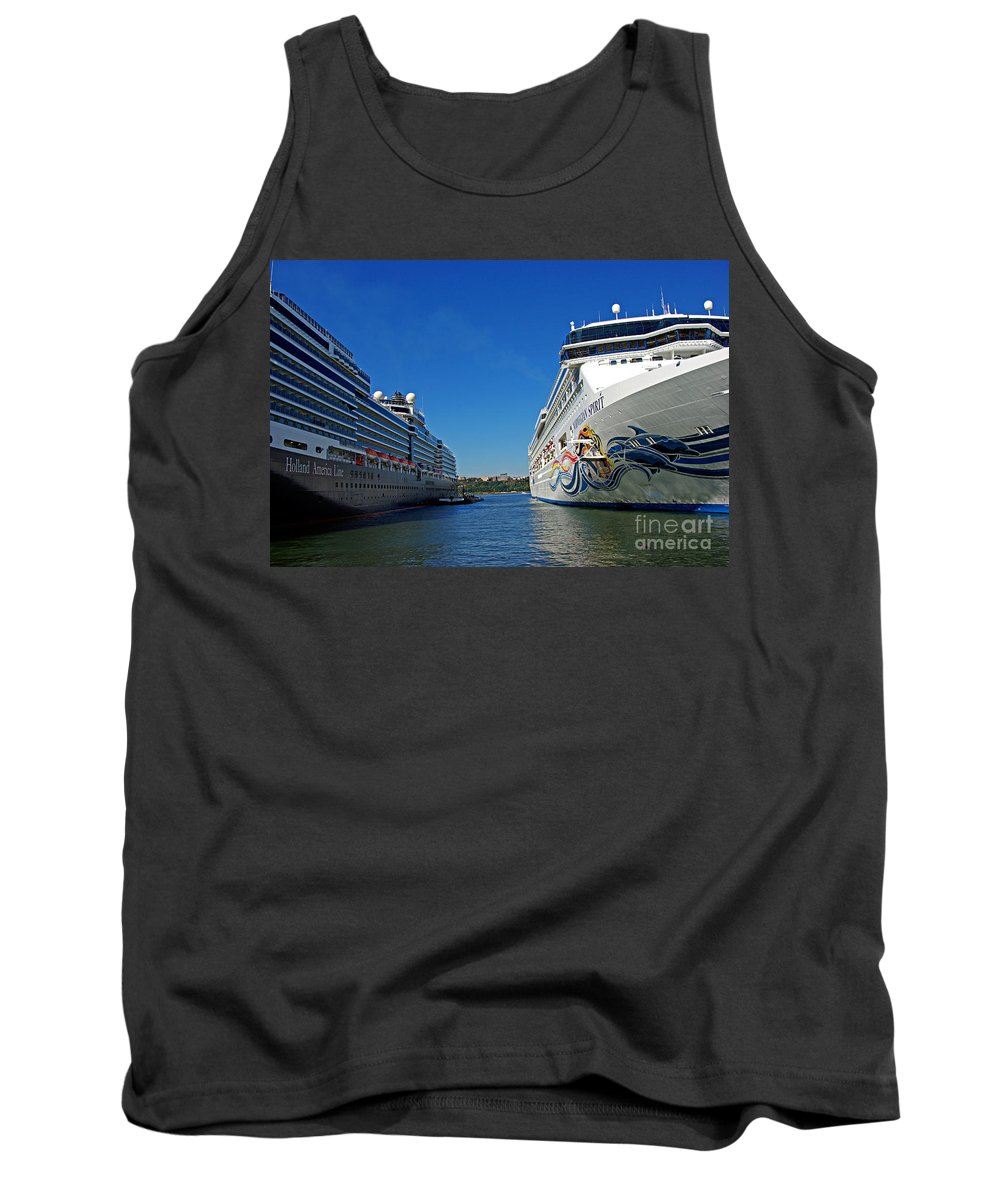 Cruise Tank Top featuring the photograph Two Cruise Ships by Zal Latzkovich