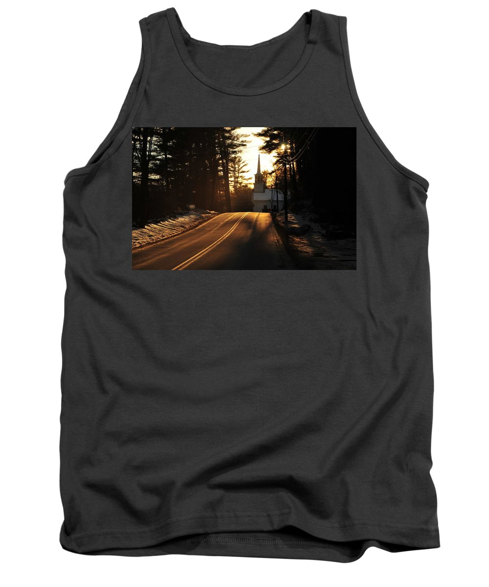 Back Roads Of New Hampshire January 28 Tank Top featuring the photograph Two Lane To Heaven by Bill Driscoll