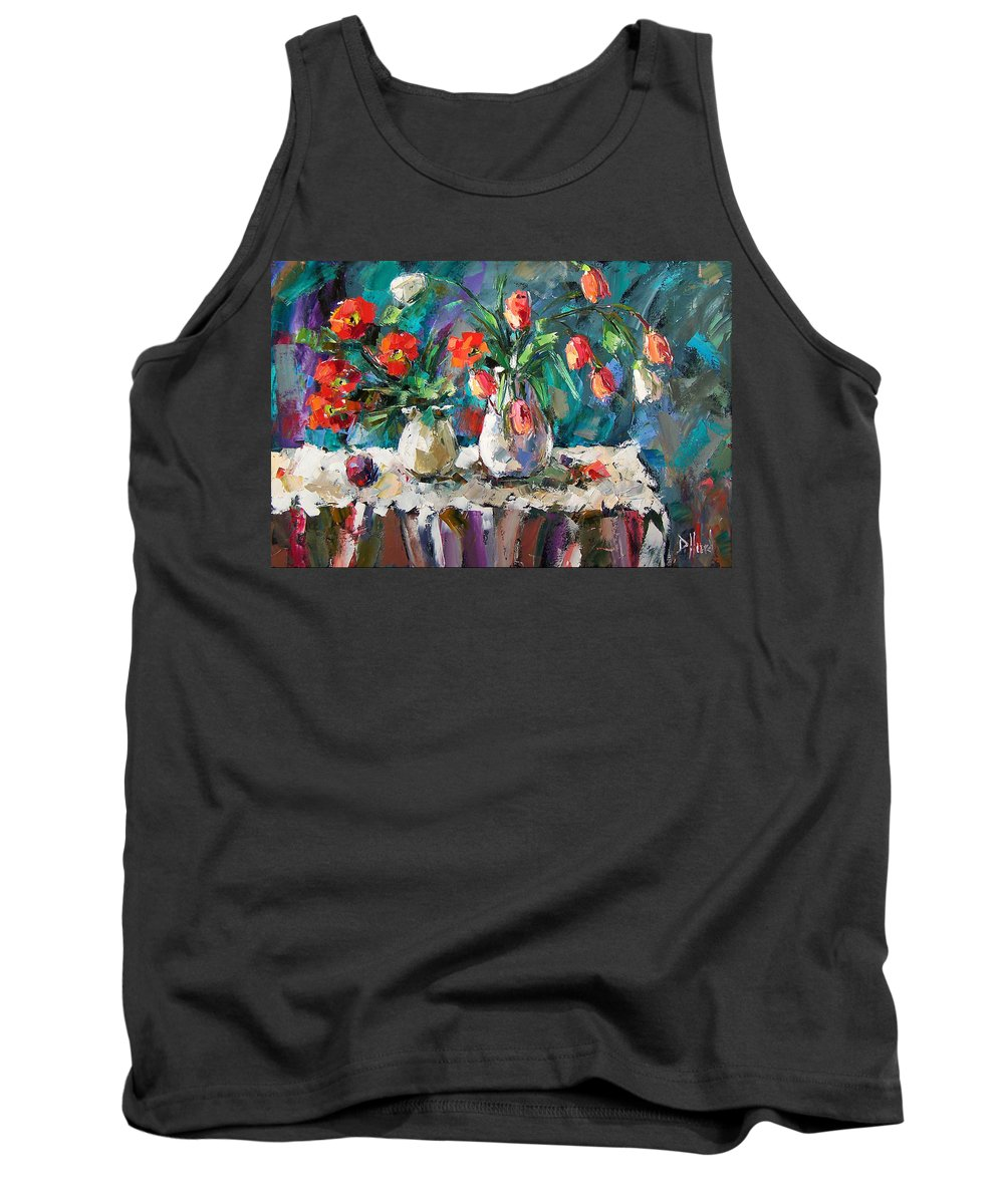 Flowers Tank Top featuring the painting Two White Tulips by Debra Hurd