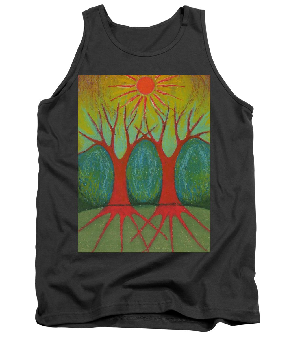 Colour Tank Top featuring the pastel Two Worlds by Wojtek Kowalski