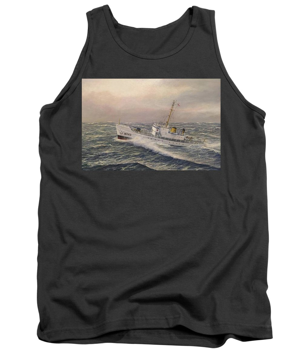 Coast Guard Tank Top featuring the painting U.. Coast Guard Cutter General Greene 2 by William H RaVell III