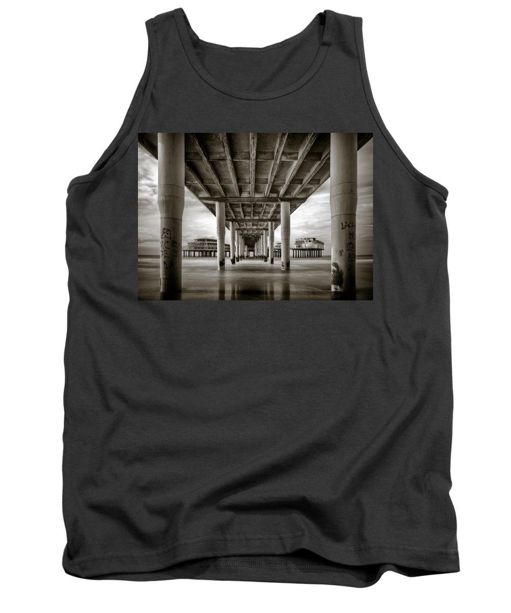 Pier Tank Top featuring the photograph Under The Boardwalk by Dave Bowman