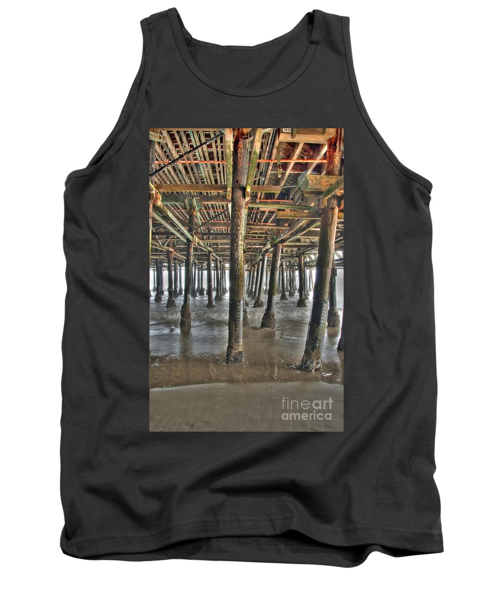 Under The Boardwalk Tank Top featuring the photograph Under The Boardwalk Pier Sunbeams by David Zanzinger