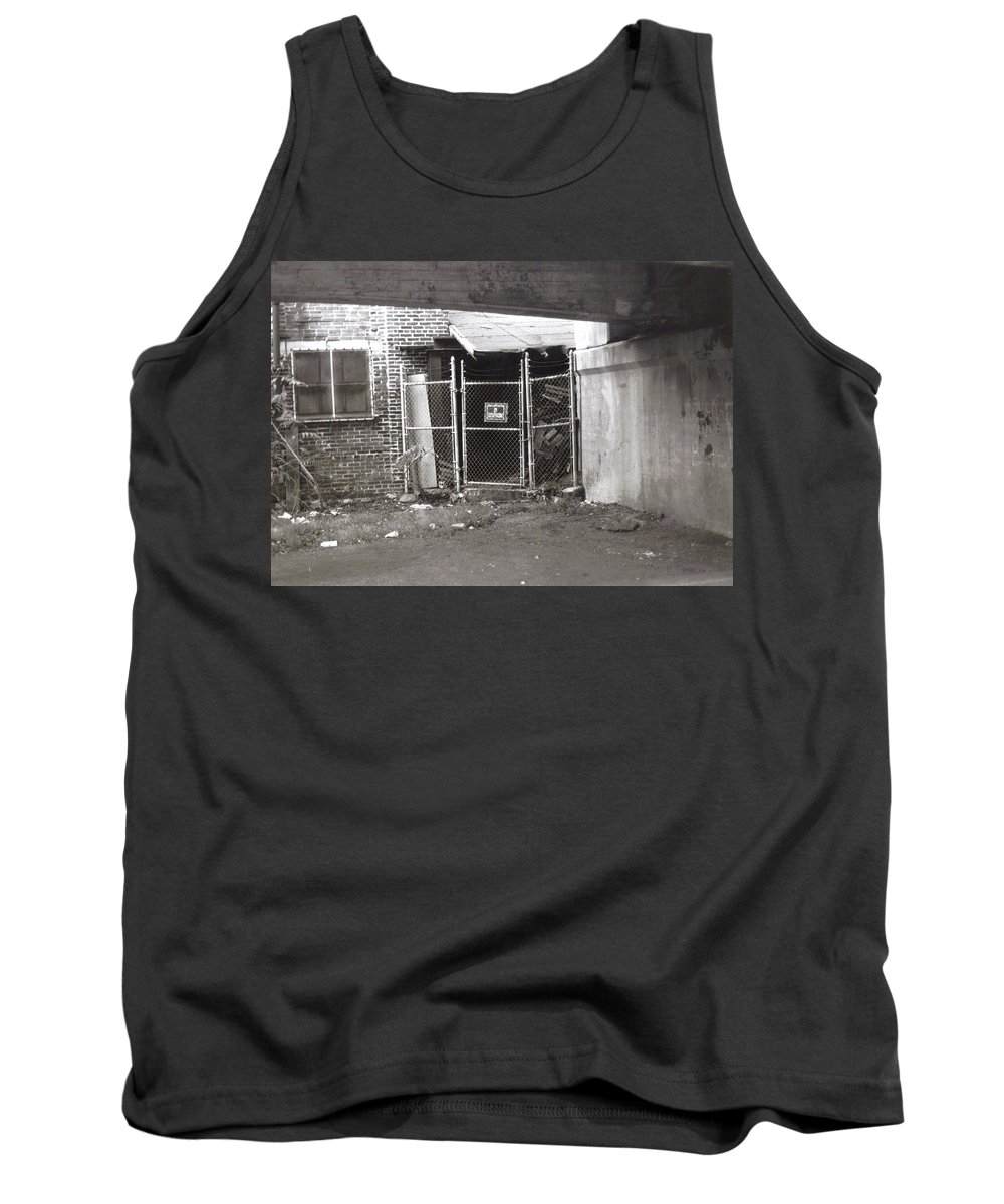 Black And White Photograph Tank Top featuring the photograph Under The Bridge by Thomas Valentine