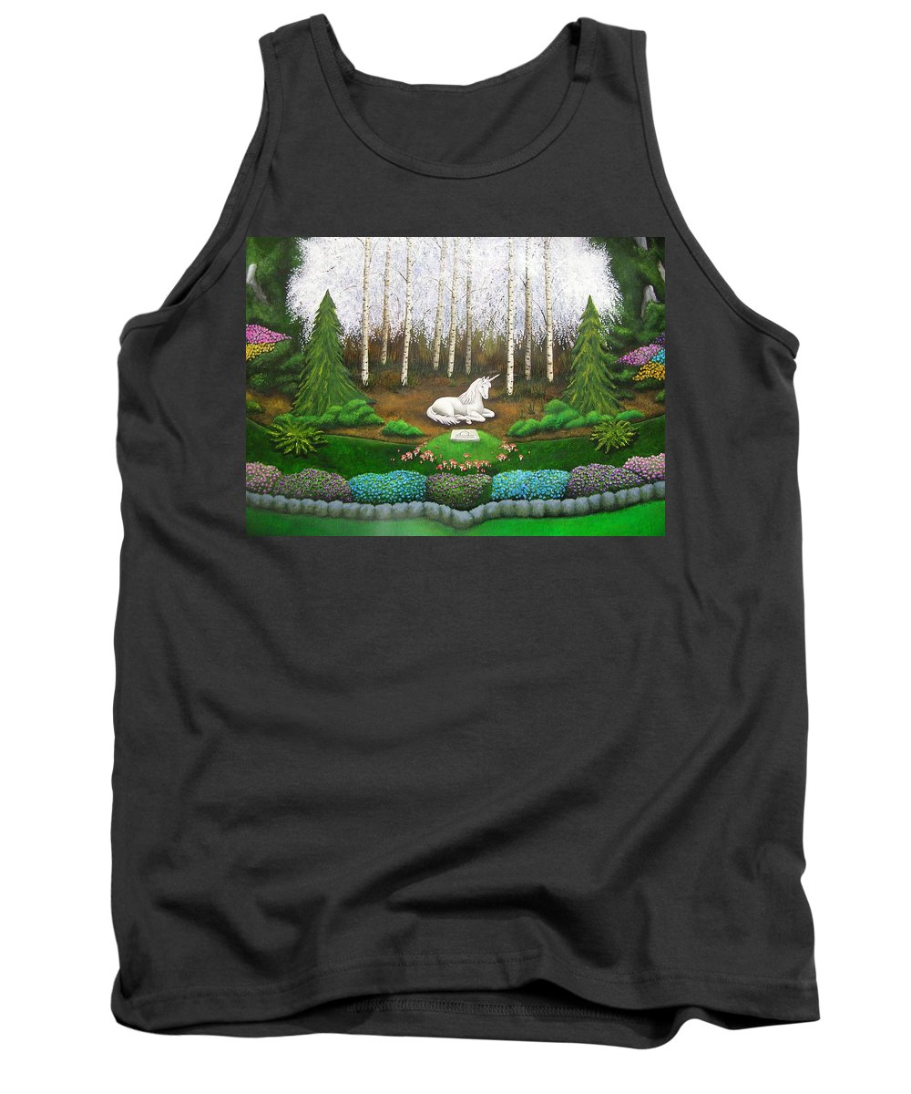Unicorn Tank Top featuring the painting Unicorn by Cindy D Chinn