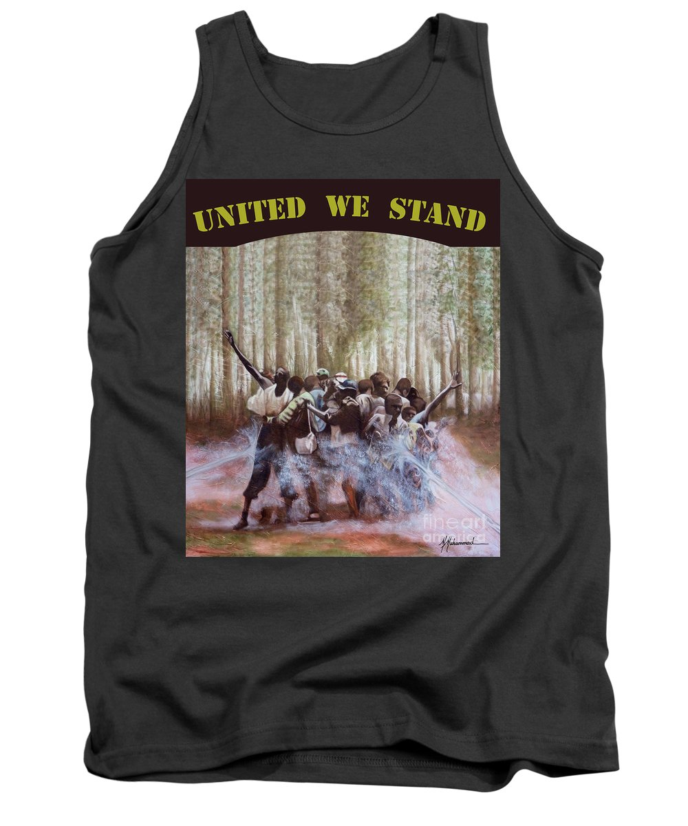 African American Tank Top featuring the painting United We Stand by Marcella Muhammad