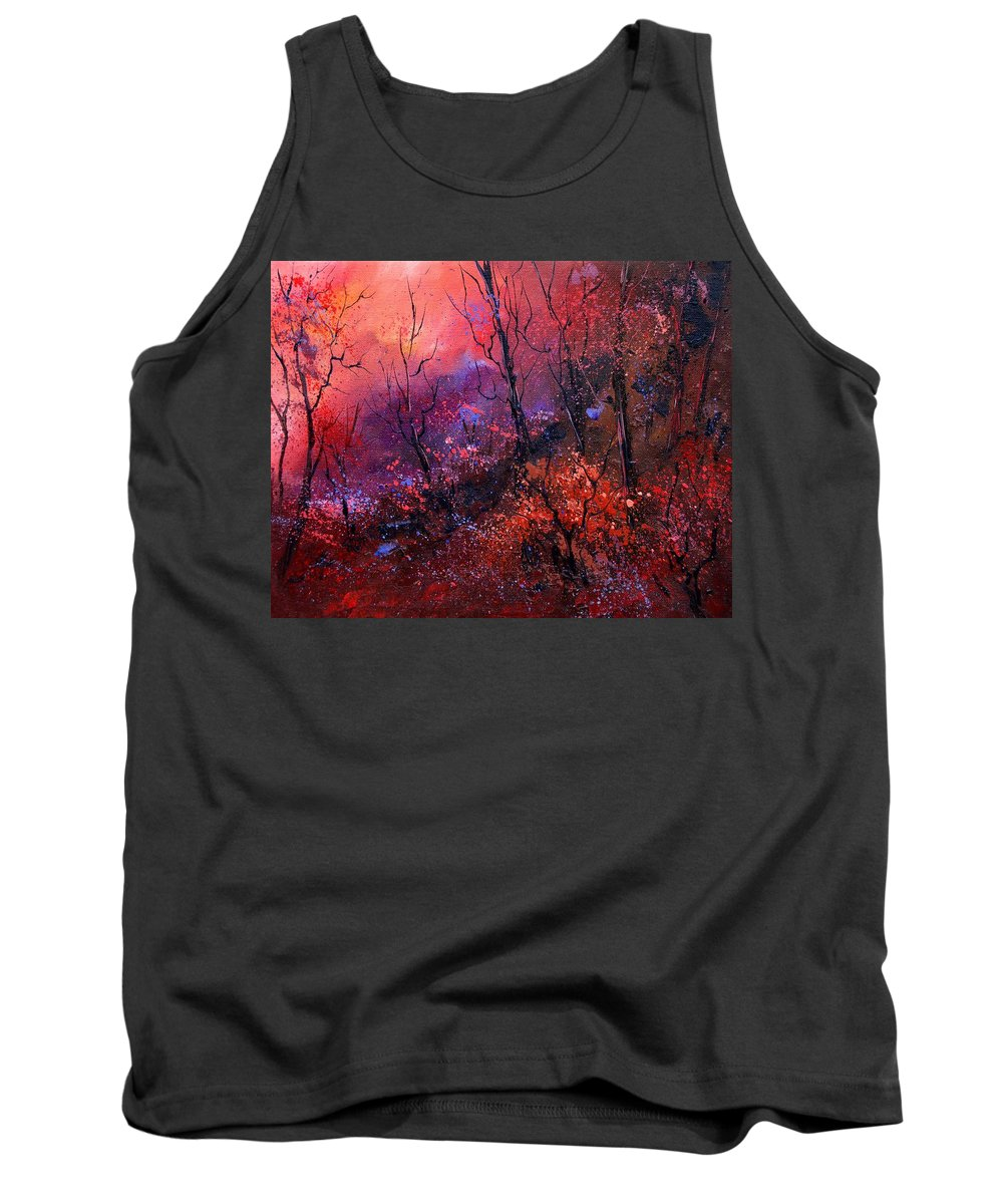 Wood Sunset Tree Tank Top featuring the painting Unset In The Wood by Pol Ledent