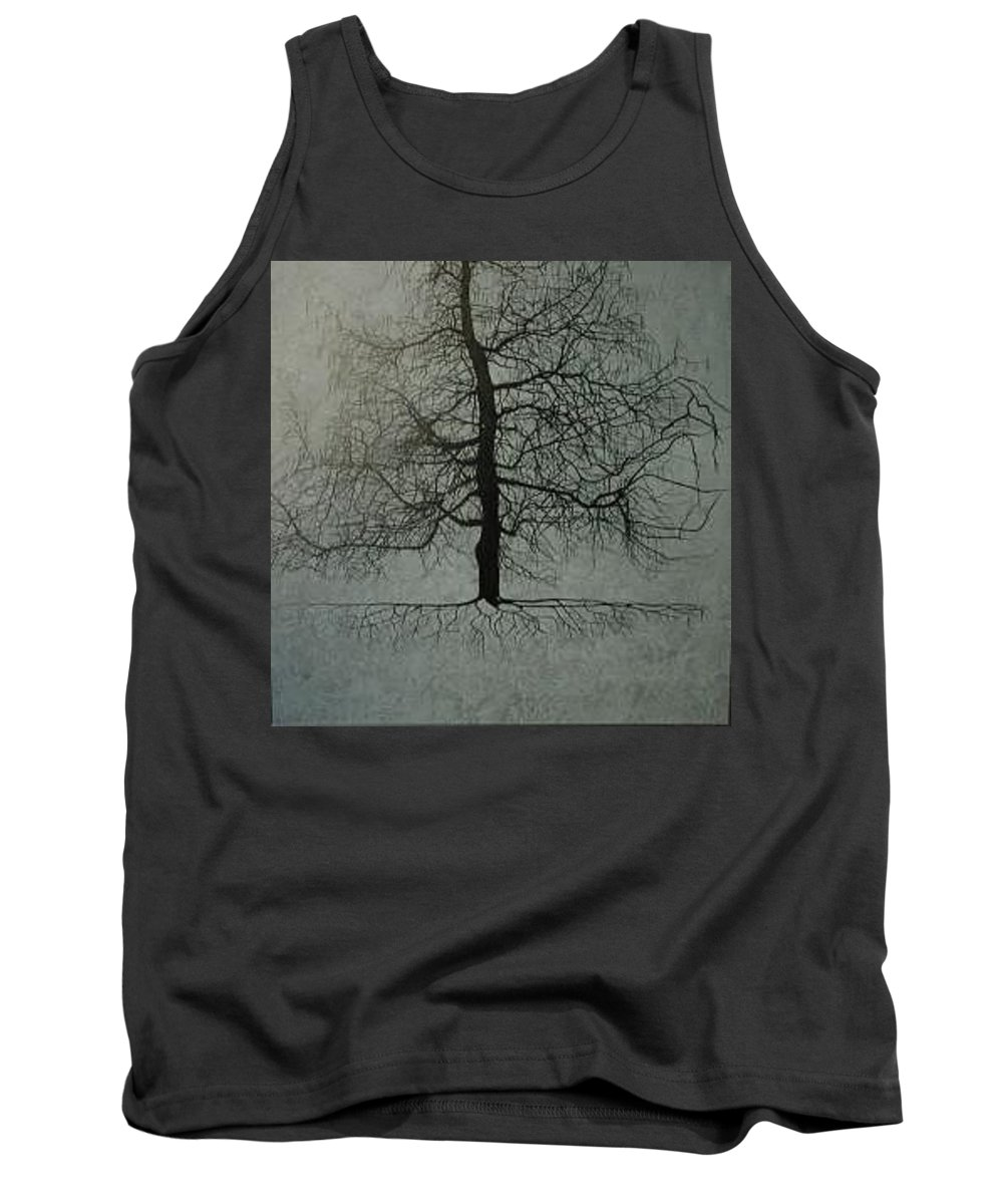 Silhouette Tank Top featuring the painting Untitled Blue by Leah Tomaino