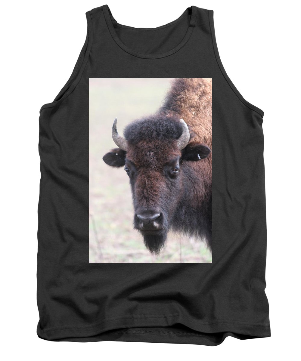 Buffalo Tank Top featuring the photograph Up Close And Personal by Lew Wescott
