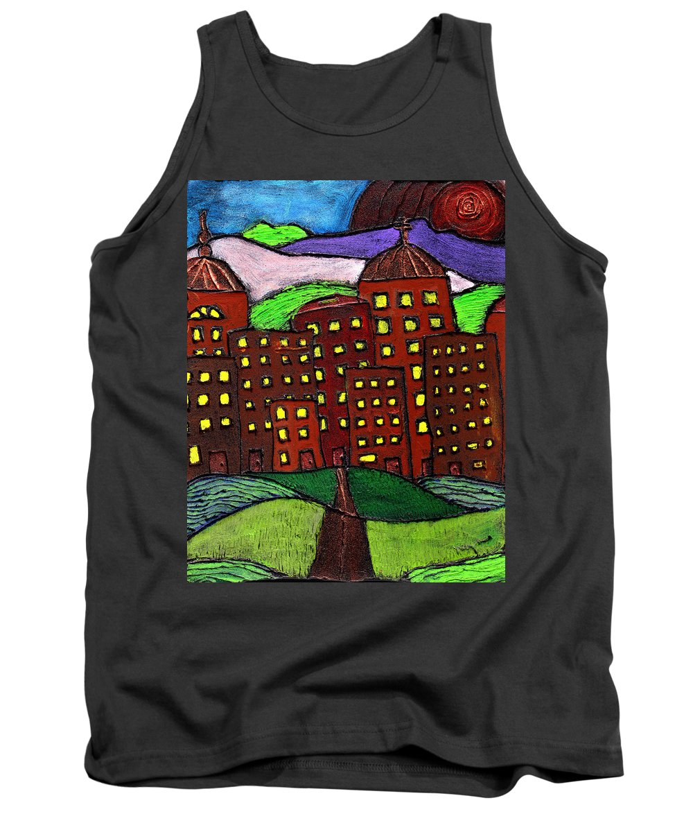 City Scape Tank Top featuring the painting Urban Legand by Wayne Potrafka