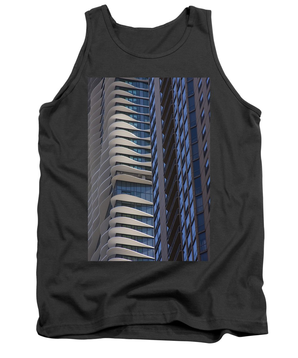 Chicago City Wind Windy Sky Skyscraper Window Concrete Glass Tall High Urban Metro Tank Top featuring the photograph Urban Patters by Andrei Shliakhau