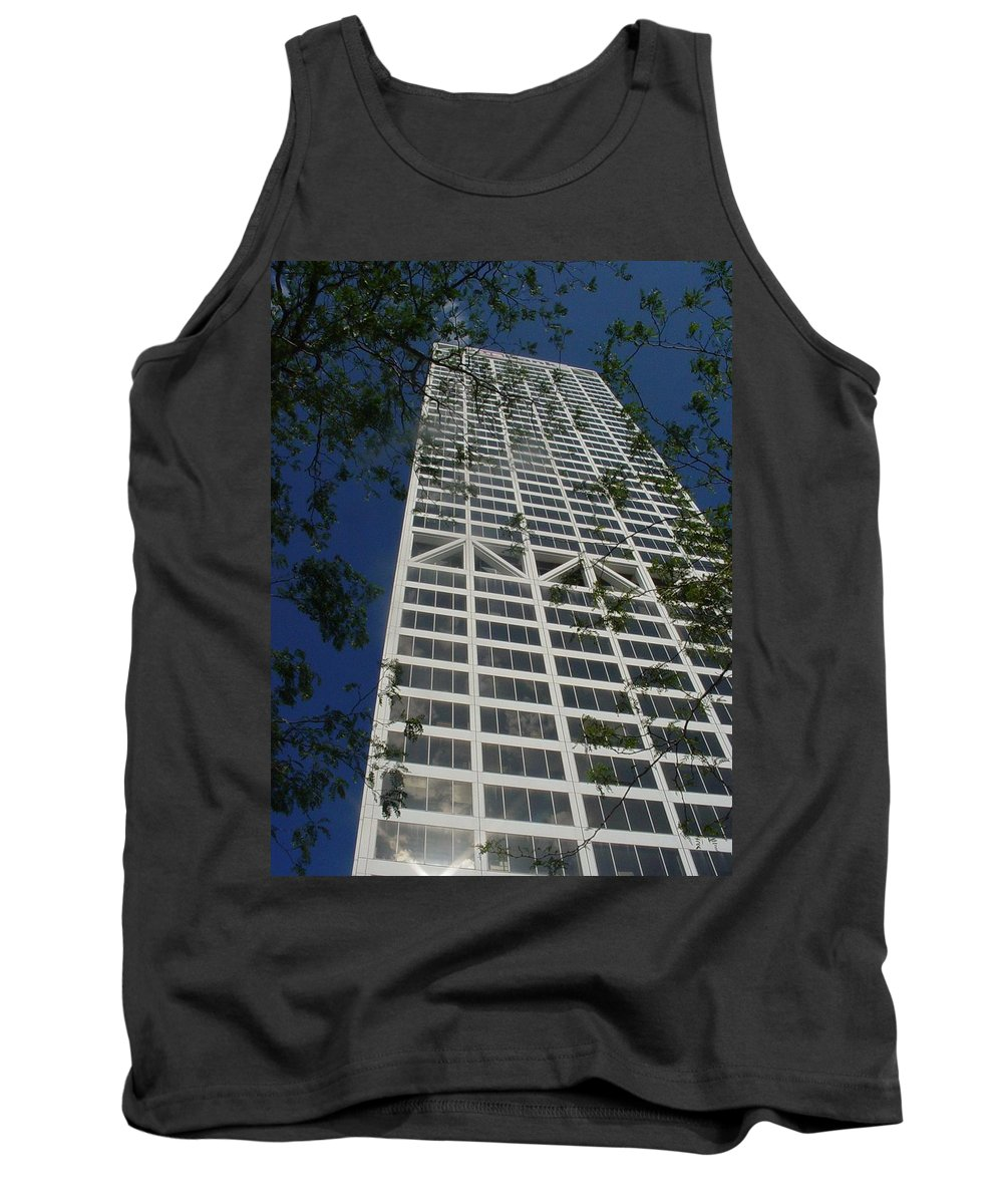Us Bank Tank Top featuring the photograph Us Bank With Trees by Anita Burgermeister