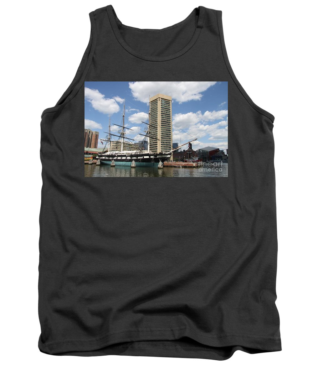 All Sail War Ship Tank Top featuring the photograph Uss Constellation - Baltimore Inner Harbor by Christiane Schulze Art And Photography