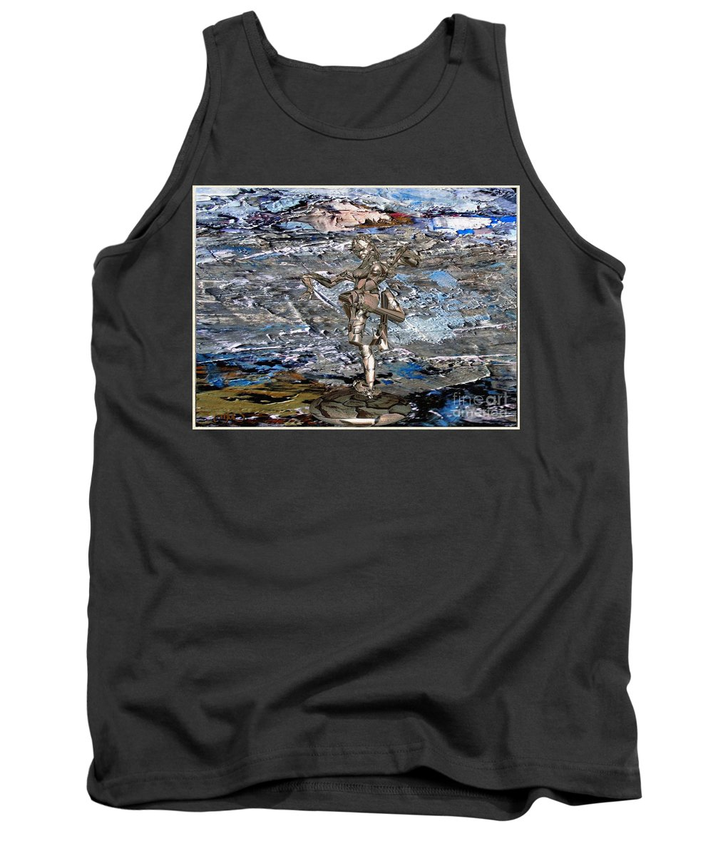 Modern Painting Tank Top featuring the mixed media Valley Of The Dancing Zombie by Pemaro