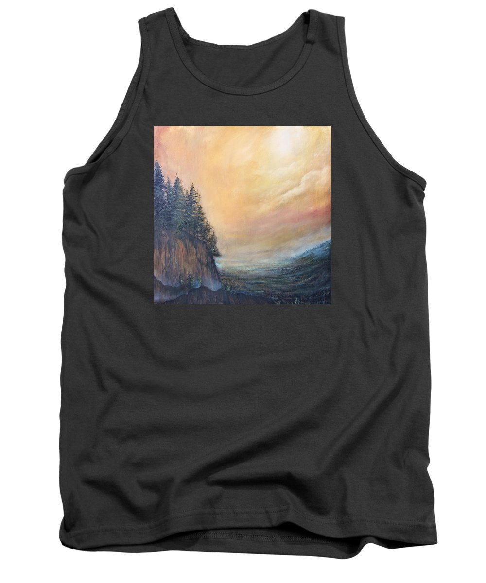 Valley Tank Top featuring the painting Valley Of Trees by Austin Howlett