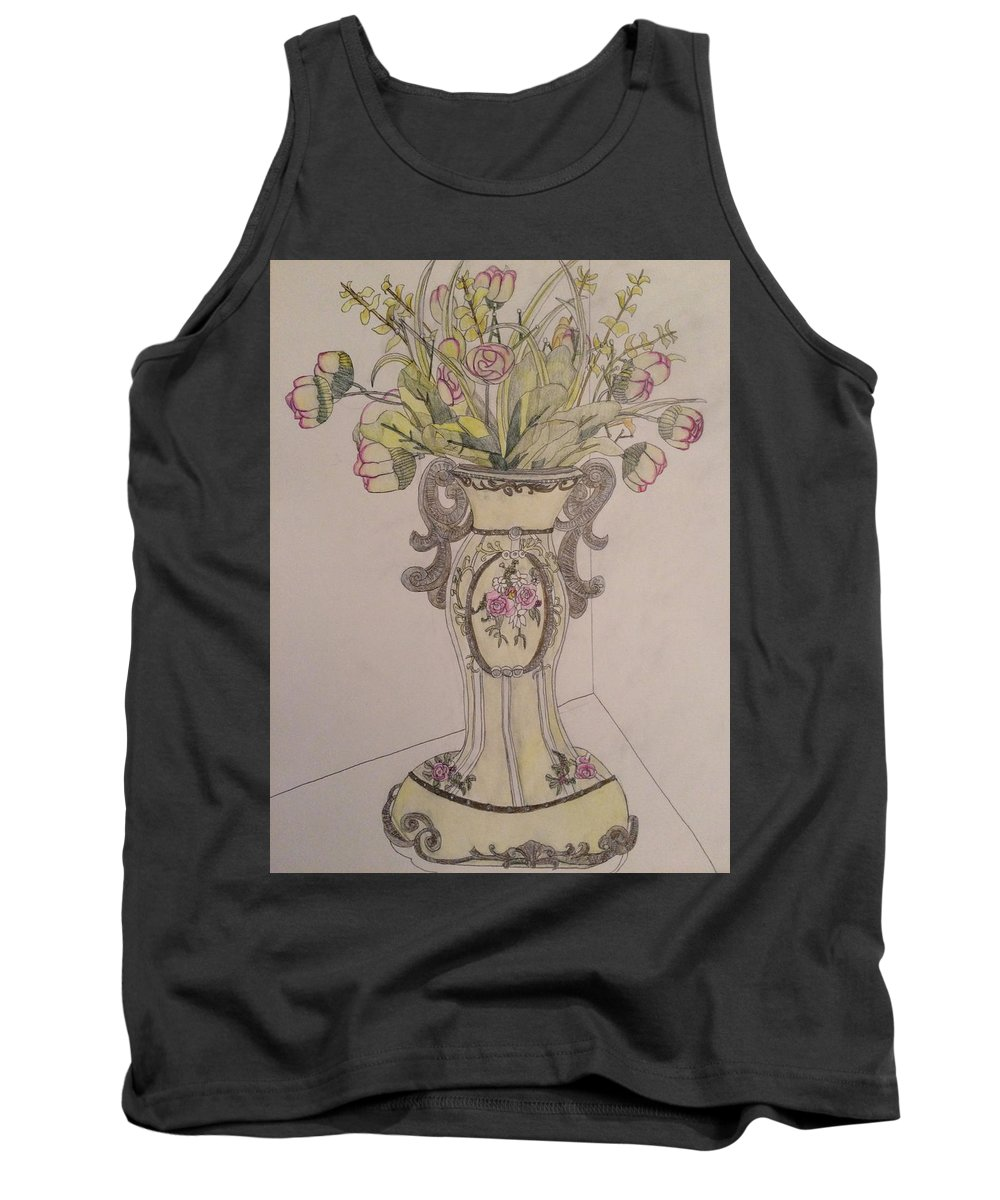Vase. Still Life. Colored Pencil. Drawing. Tank Top featuring the drawing Vase by Raymond Samuel