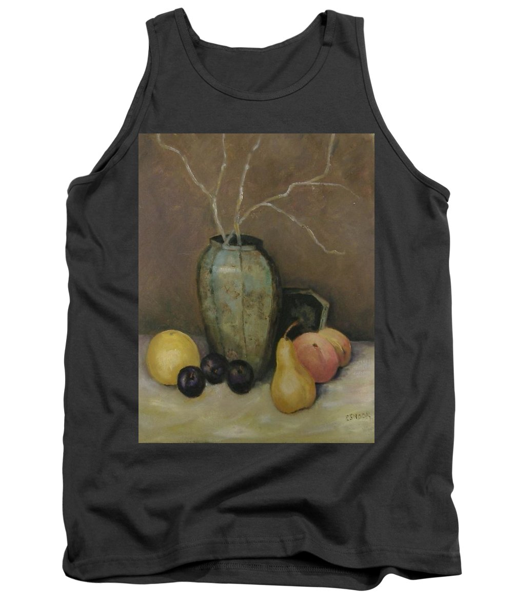 Still Life Tank Top featuring the painting Vase With Fruit by Pat Snook