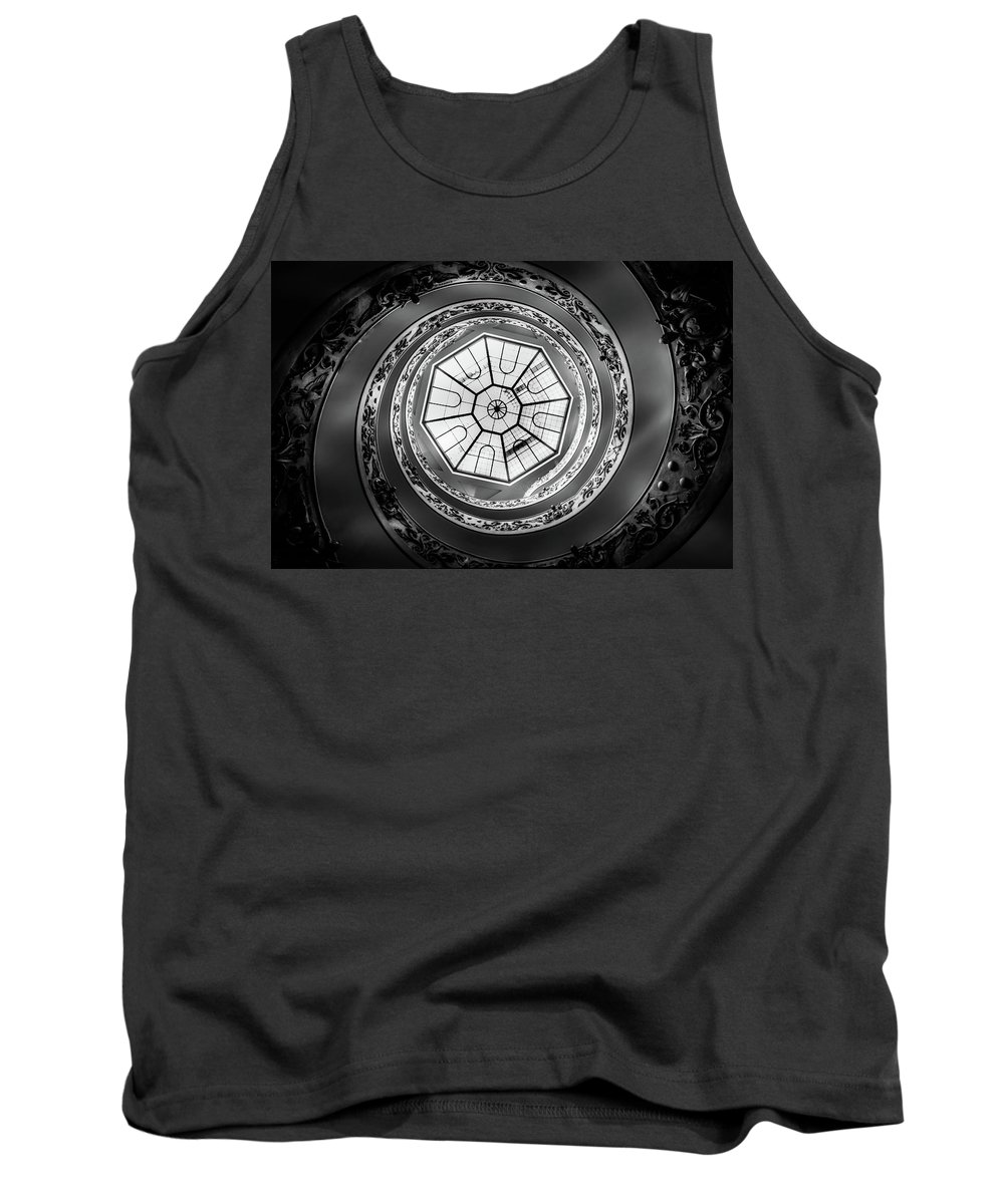 Vatican Tank Top featuring the photograph Vatican Staircase Looking Up Black And White by Mike Houghton BlueMaxPhotography