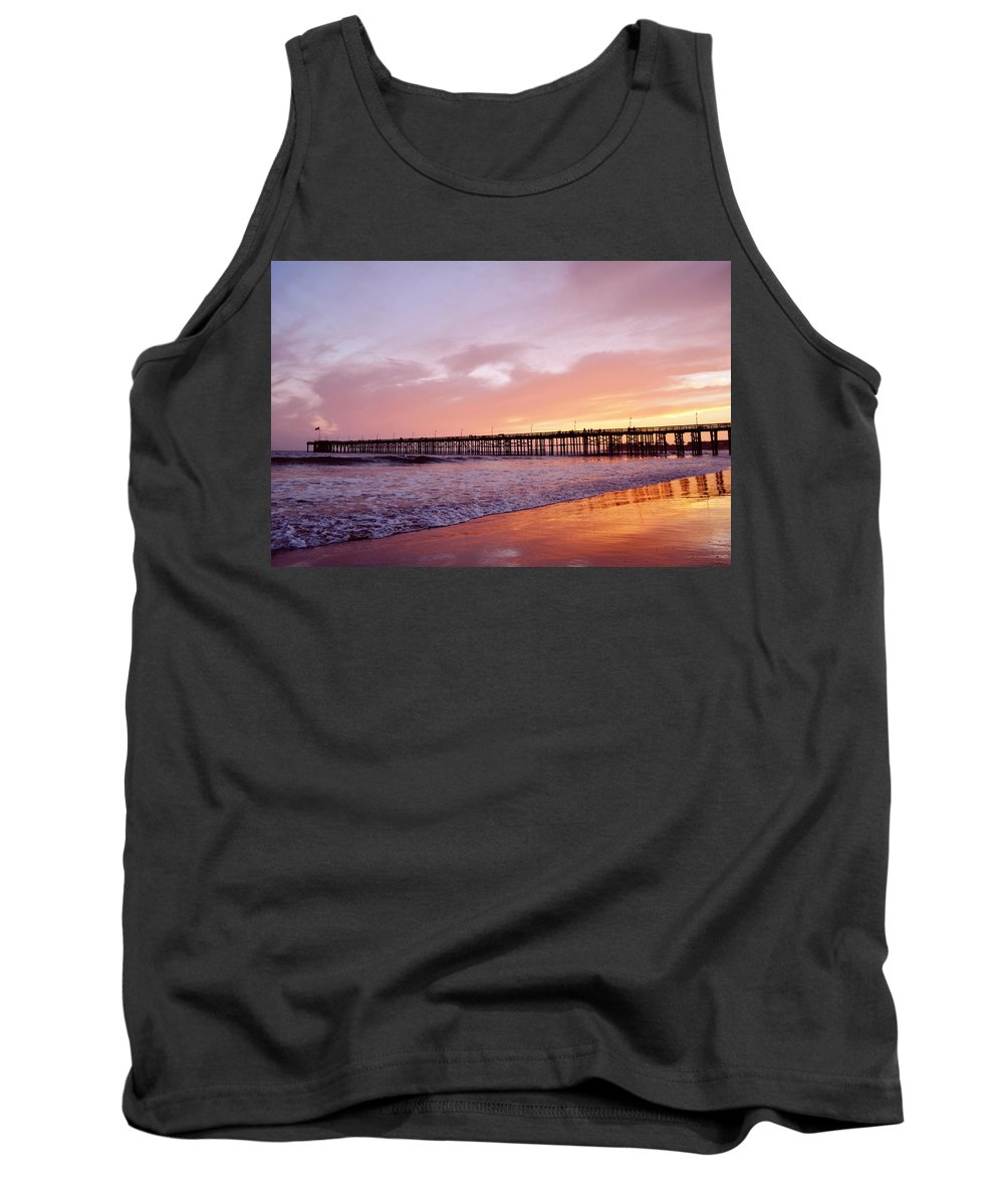 Ventura Tank Top featuring the photograph Ventura Pier Sunset by Kyle Hanson