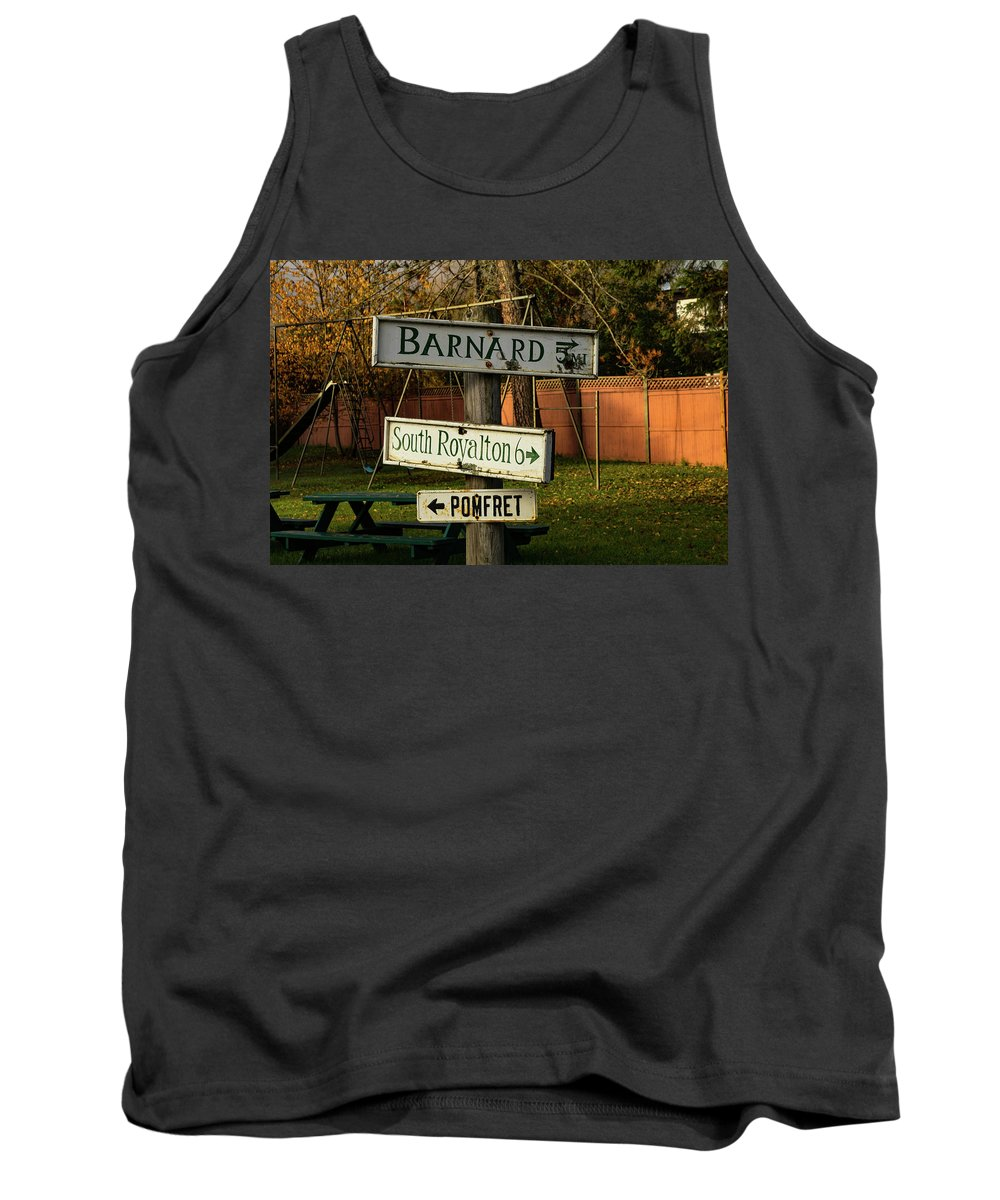#jefffolger Tank Top featuring the photograph Vermont Crossroads Signs by Jeff Folger