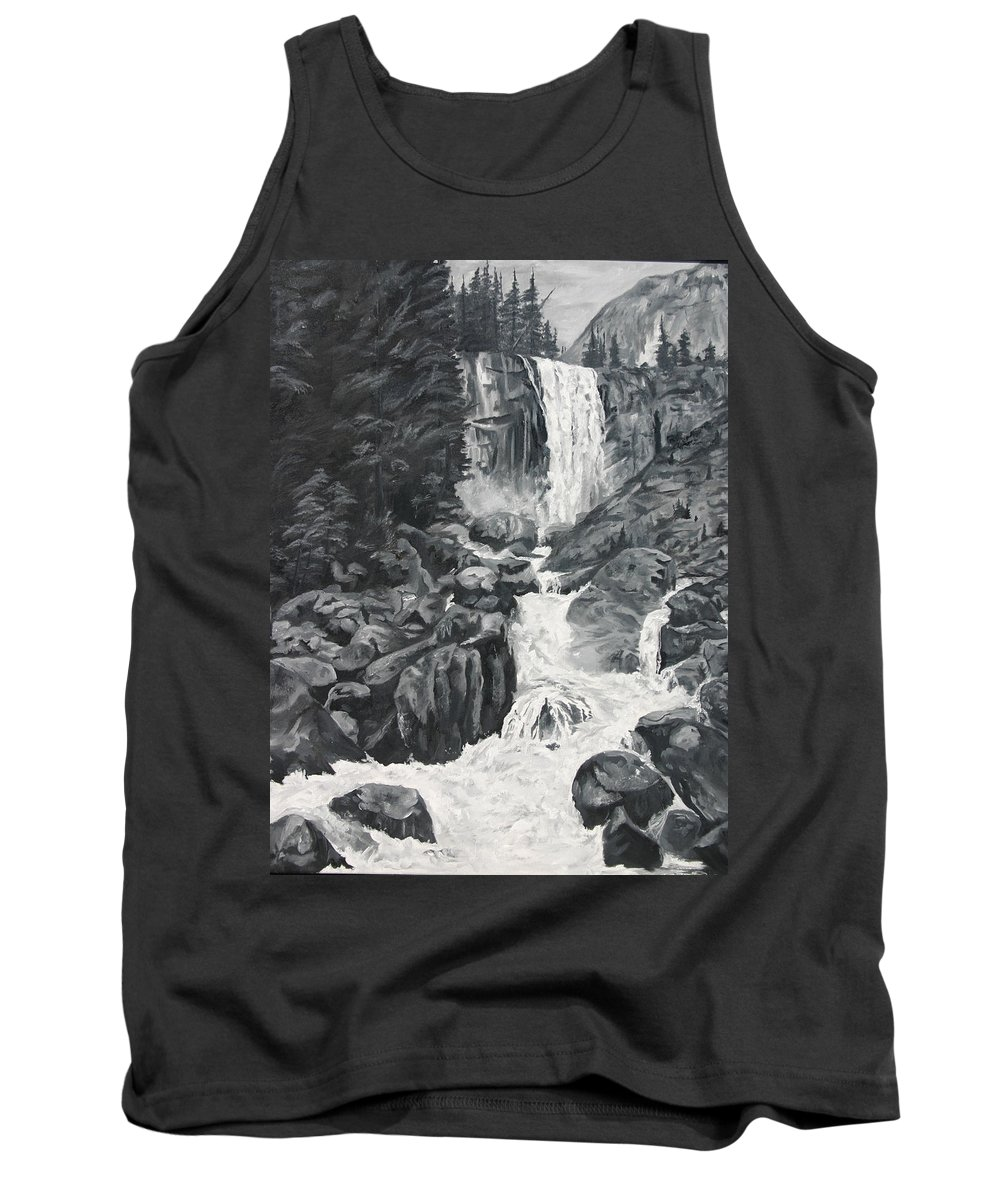 Landscape Tank Top featuring the painting Vernal Falls Black And White by Travis Day
