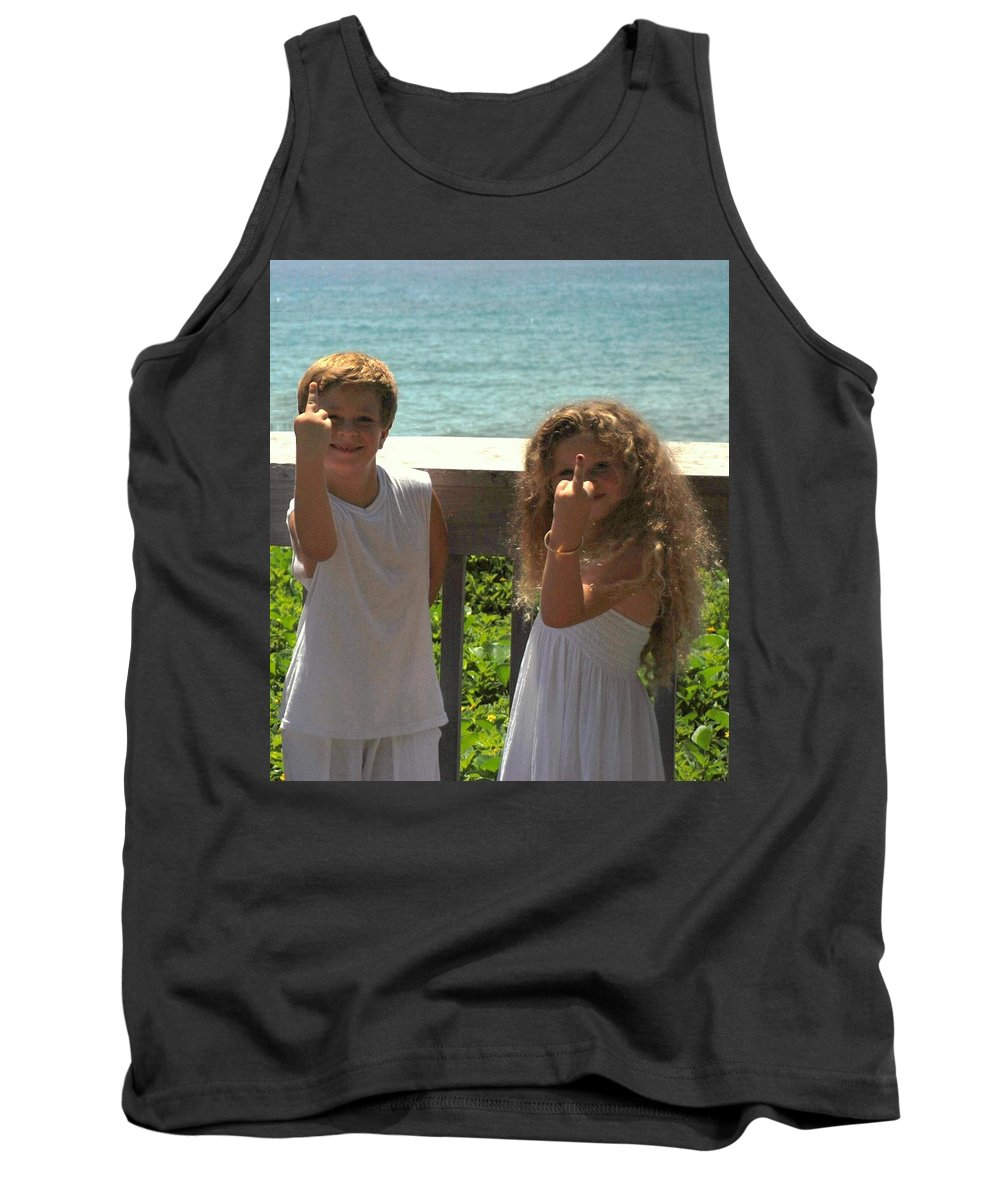 Kids Tank Top featuring the photograph Very Naughty Angels by Rob Hans