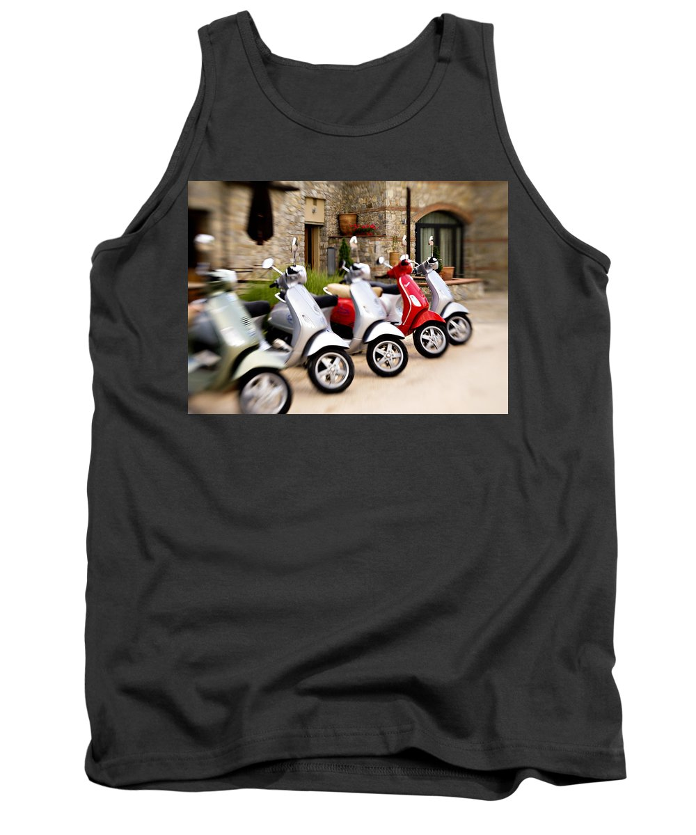Vespa Tank Top featuring the photograph Vespas In Line by Marilyn Hunt