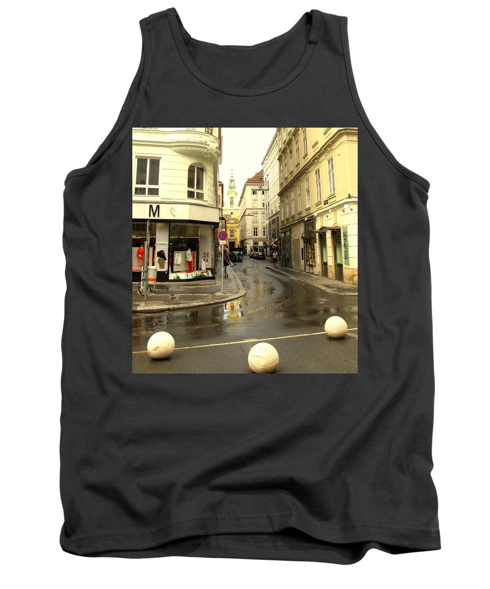 Vienna Tank Top featuring the photograph Vienna Corner After The Rain by Ian MacDonald