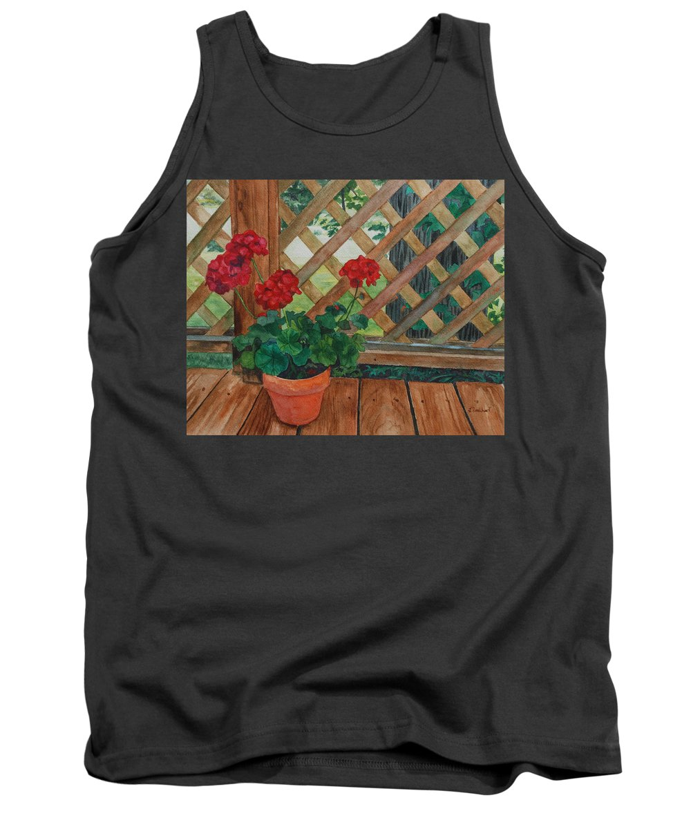 Watercolor Tank Top featuring the painting View From A Deck by Lynne Reichhart