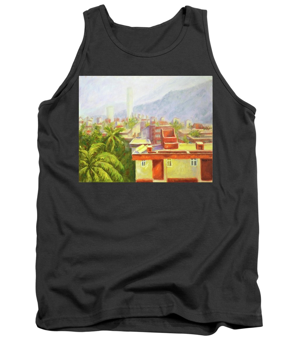 View From Our Balcony Tank Top featuring the painting View From Our Balcony by Uma Krishnamoorthy