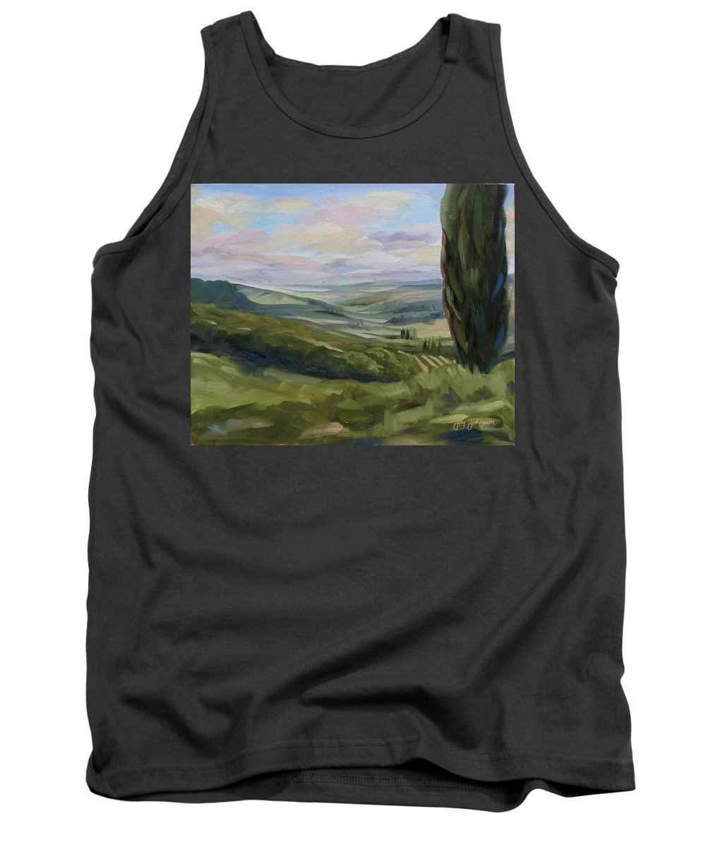 Landscape Tank Top featuring the painting View From Sienna by Jay Johnson