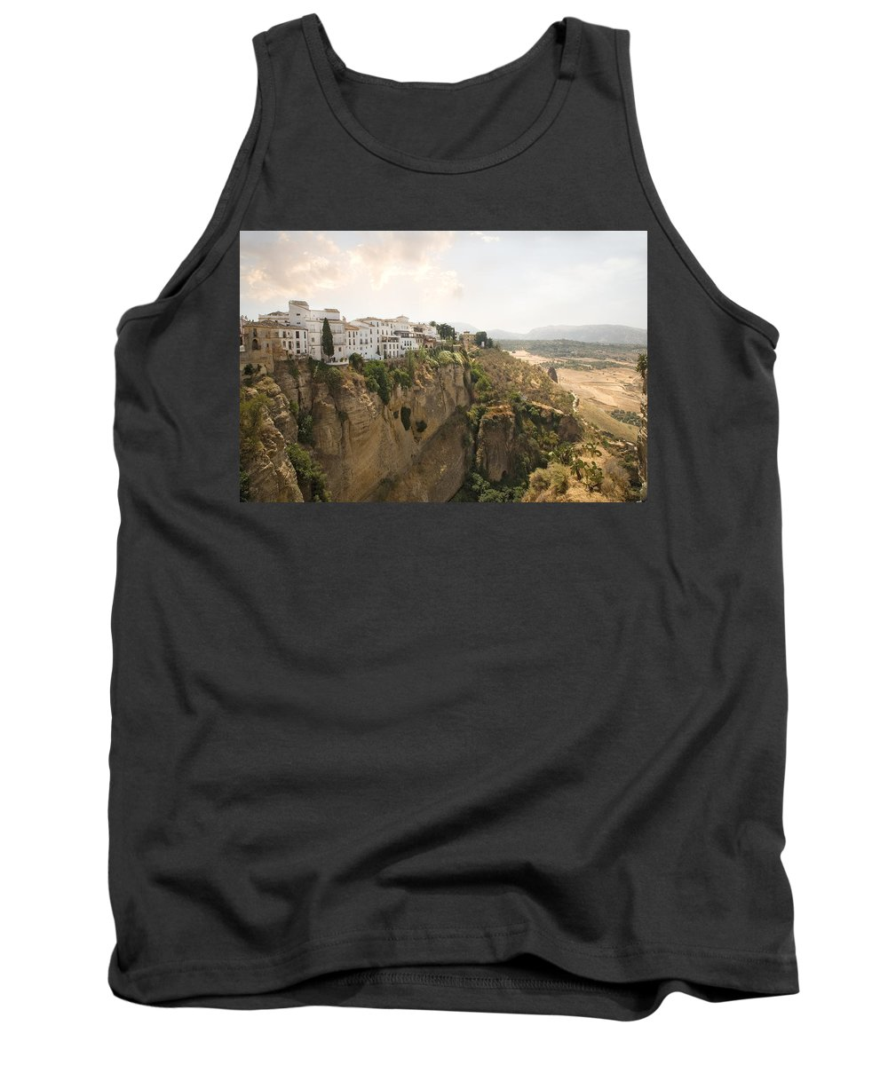 Ronda Tank Top featuring the photograph View Over The Tajo Gorge Ronda Home Of Bullfighting by Mal Bray