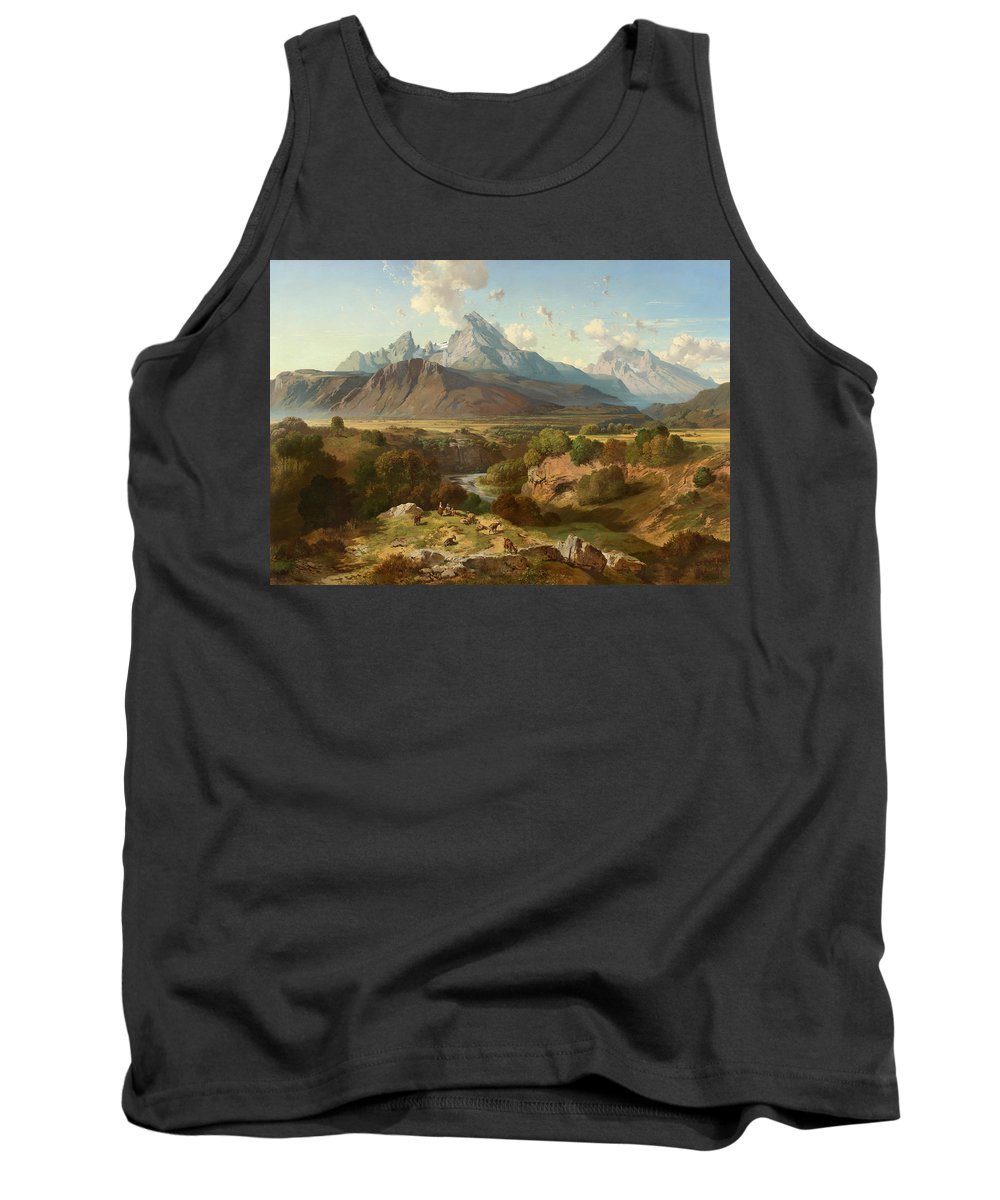 Landscape Tank Top featuring the painting View To Watzmann And Hochkalter by Celestial Images