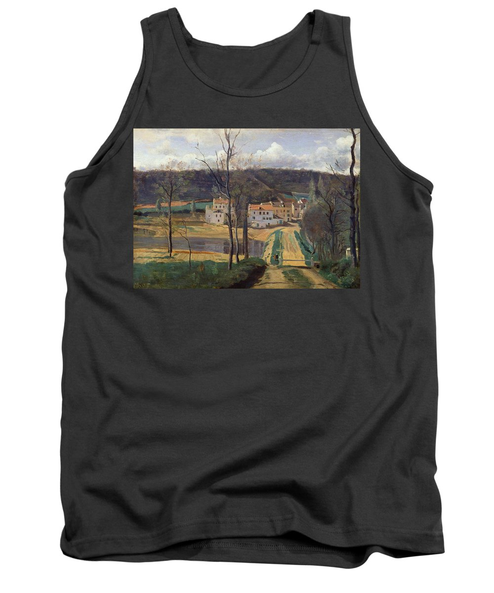 French Tank Top featuring the painting Ville Davray by Jean Baptiste Camille Corot