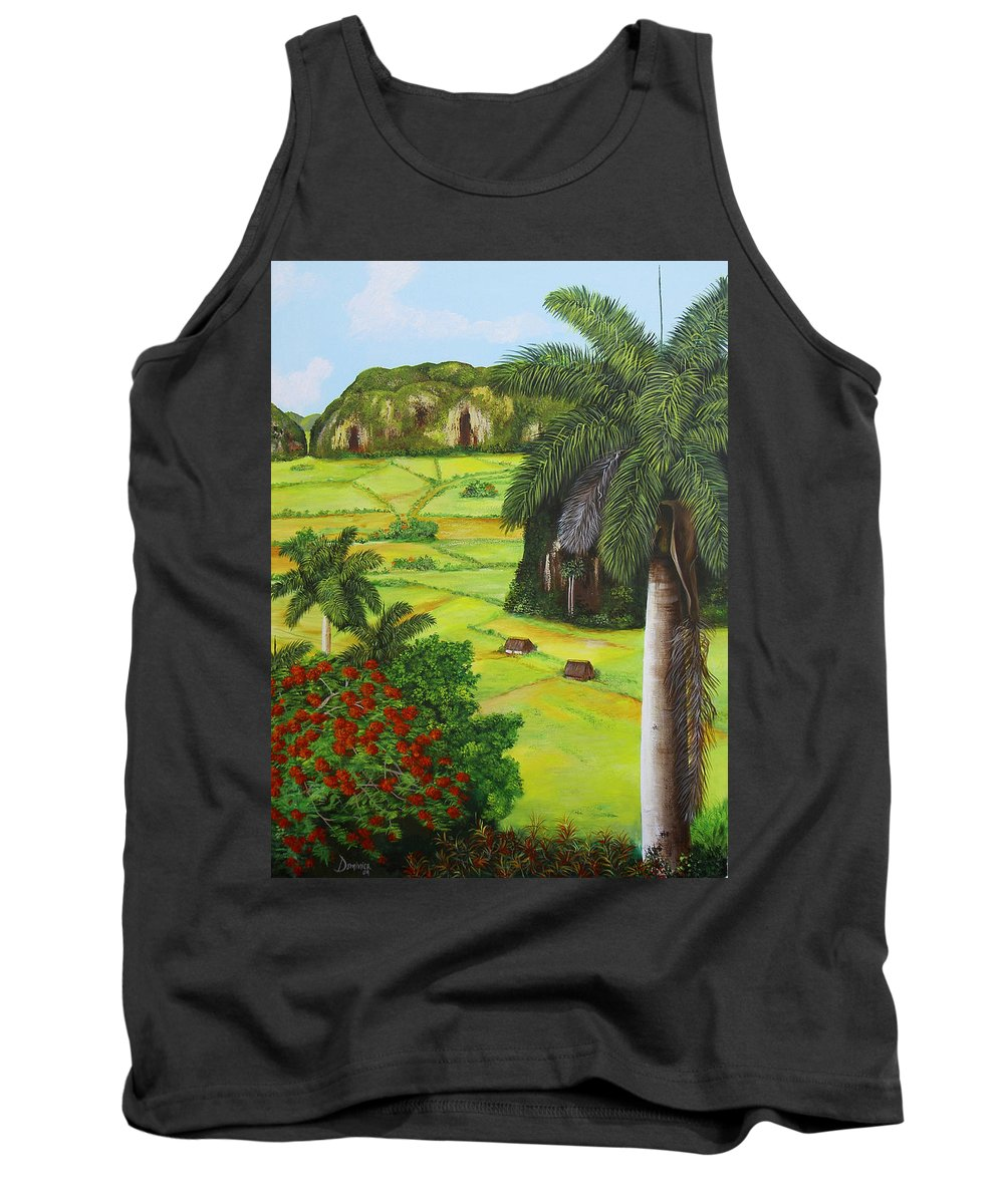 Cuban Landscape Tank Top featuring the painting Vinales Valley by Dominica Alcantara